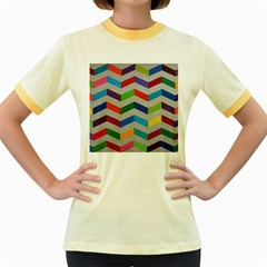 Charming Chevrons Quilt Women s Fitted Ringer T-Shirts