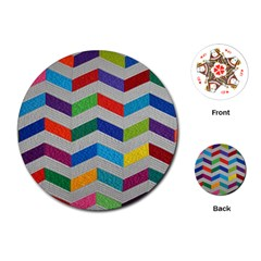 Charming Chevrons Quilt Playing Cards (Round)