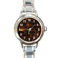 Books Library Round Italian Charm Watch