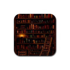 Books Library Rubber Coaster (Square)