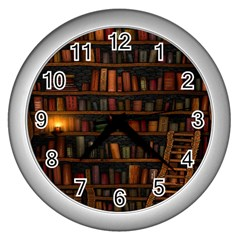 Books Library Wall Clocks (Silver)
