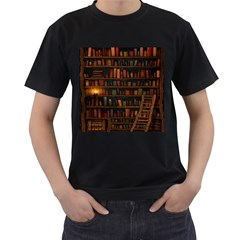 Books Library Men s T-Shirt (Black) (Two Sided)
