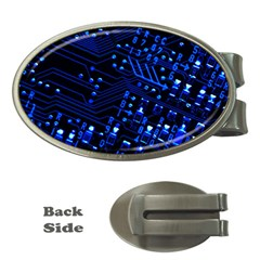 Blue Circuit Technology Image Money Clips (Oval)