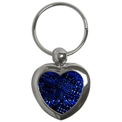 Blue Circuit Technology Image Key Chains (Heart)