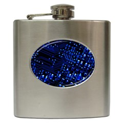 Blue Circuit Technology Image Hip Flask (6 oz)