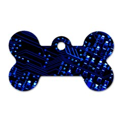 Blue Circuit Technology Image Dog Tag Bone (Two Sides)