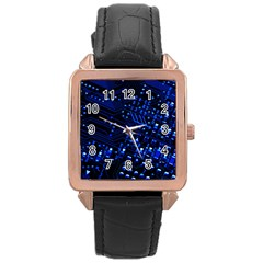 Blue Circuit Technology Image Rose Gold Leather Watch