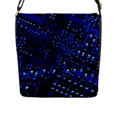 Blue Circuit Technology Image Flap Messenger Bag (L)