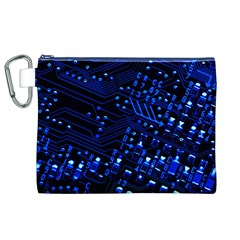 Blue Circuit Technology Image Canvas Cosmetic Bag (XL)