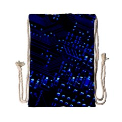 Blue Circuit Technology Image Drawstring Bag (Small)