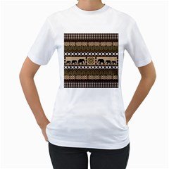 Elephant African Vector Pattern Women s T-Shirt (White) (Two Sided)
