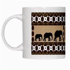 Elephant African Vector Pattern White Mugs
