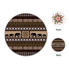 Elephant African Vector Pattern Playing Cards (Round)