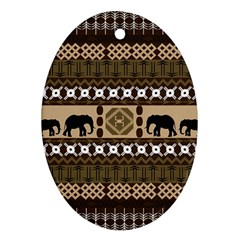 Elephant African Vector Pattern Oval Ornament (Two Sides)