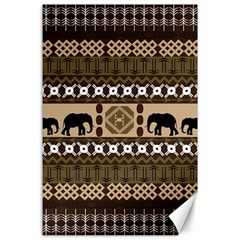 Elephant African Vector Pattern Canvas 24  x 36