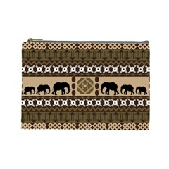 Elephant African Vector Pattern Cosmetic Bag (Large)