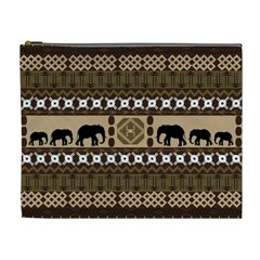 Elephant African Vector Pattern Cosmetic Bag (XL)