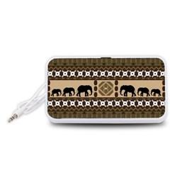 Elephant African Vector Pattern Portable Speaker (White)