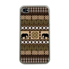 Elephant African Vector Pattern Apple iPhone 4 Case (Clear)