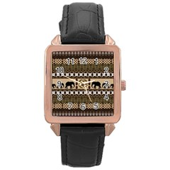 Elephant African Vector Pattern Rose Gold Leather Watch