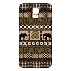 Elephant African Vector Pattern Samsung Galaxy S5 Back Case (White)