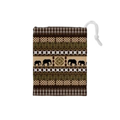Elephant African Vector Pattern Drawstring Pouches (Small)