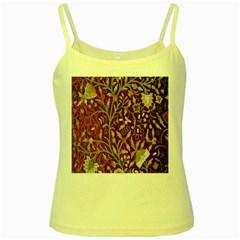 Crewel Fabric Tree Of Life Maroon Yellow Spaghetti Tank