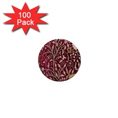 Crewel Fabric Tree Of Life Maroon 1  Mini Magnets (100 pack)