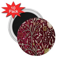 Crewel Fabric Tree Of Life Maroon 2.25  Magnets (10 pack)
