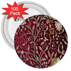Crewel Fabric Tree Of Life Maroon 3  Buttons (100 pack)