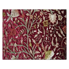 Crewel Fabric Tree Of Life Maroon Rectangular Jigsaw Puzzl
