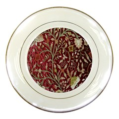 Crewel Fabric Tree Of Life Maroon Porcelain Plates