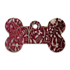 Crewel Fabric Tree Of Life Maroon Dog Tag Bone (Two Sides)