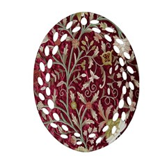 Crewel Fabric Tree Of Life Maroon Oval Filigree Ornament (Two Sides)