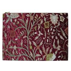 Crewel Fabric Tree Of Life Maroon Cosmetic Bag (XXL)