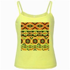 Aztec Pattern Yellow Spaghetti Tank