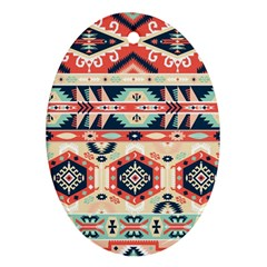 Aztec Pattern Oval Ornament (Two Sides)