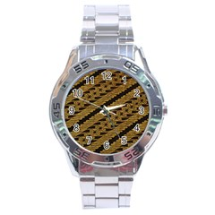 Traditional Art Indonesian Batik Stainless Steel Analogue Watch