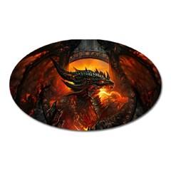 Dragon Legend Art Fire Digital Fantasy Oval Magnet