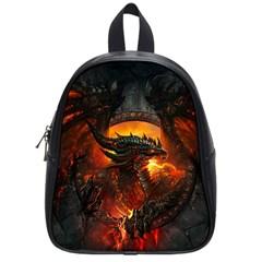 Dragon Legend Art Fire Digital Fantasy School Bags (Small)