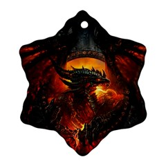 Dragon Legend Art Fire Digital Fantasy Ornament (Snowflake)