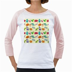 Group Of Funny Dinosaurs Graphic Girly Raglans