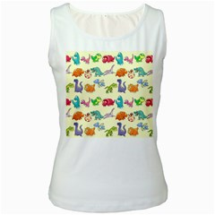 Group Of Funny Dinosaurs Graphic Women s White Tank Top