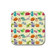 Group Of Funny Dinosaurs Graphic Rubber Square Coaster (4 pack)