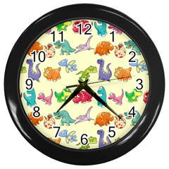 Group Of Funny Dinosaurs Graphic Wall Clocks (Black)