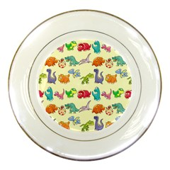 Group Of Funny Dinosaurs Graphic Porcelain Plates