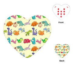 Group Of Funny Dinosaurs Graphic Playing Cards (Heart)