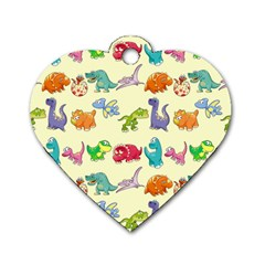 Group Of Funny Dinosaurs Graphic Dog Tag Heart (One Side)