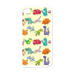 Group Of Funny Dinosaurs Graphic Apple iPhone 4 Case (White)