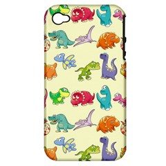 Group Of Funny Dinosaurs Graphic Apple iPhone 4/4S Hardshell Case (PC+Silicone)